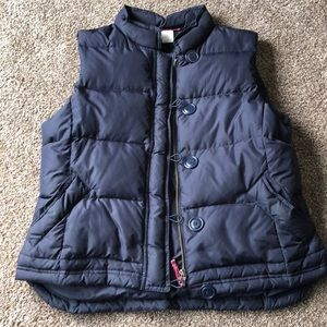 J.Crew Large Navy Puffer Vest with Button Detail
